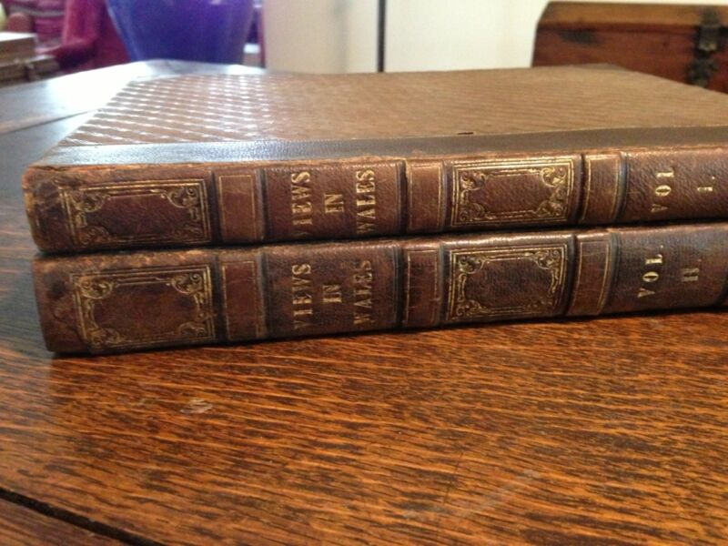 1830 Henry Gastineau Views in Wales Vol I & II Jones Temple of Muses Leather