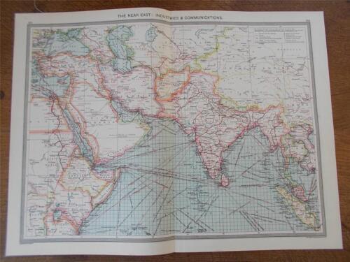 Antique c1904 Colour Map THE NEAR EAST Industries Communication HARMSWORTH ATLAS