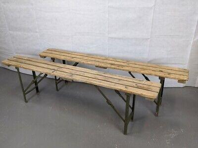 Vintage Industrial Military Wooden Trestle Folding Bench Garden Pub Kitchen Cafe