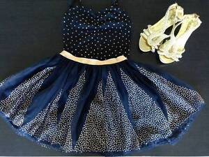 Navy & Gold tutu & leotard Cotton On with gold shoes (size 5 - 6) Morningside Brisbane South East Preview