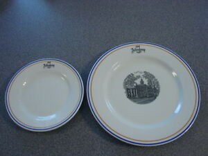 Two Vintage Old ALLEGHENY COLLEGE RESTAURANT WARE PLATES MAYER China RWCA