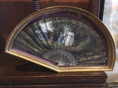 French Circa 1830's Hand Painted Watercolor Woman's Romantic Era Folding Fan
