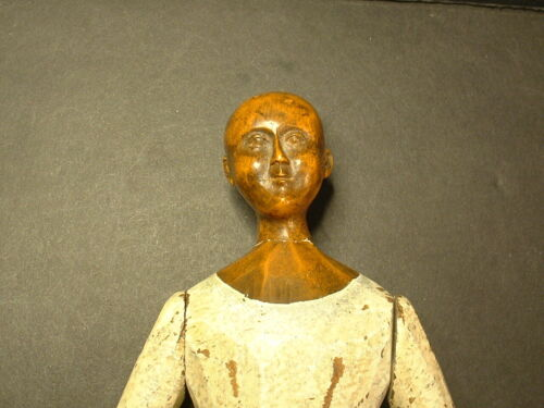 MILLINER`S WOODEN EXPERTLY HAND CARVED ARTICULATED DOLL-EARLY 19TH CENTURY!