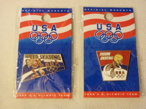 Warner Bros 1998 U.S Olympic Team Mascot Pin: Tweety Bird & Wiley Coyote