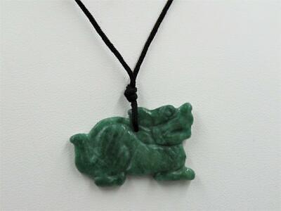 Carved Genuine Green Apple Jade Dragon Pendant w/ 30