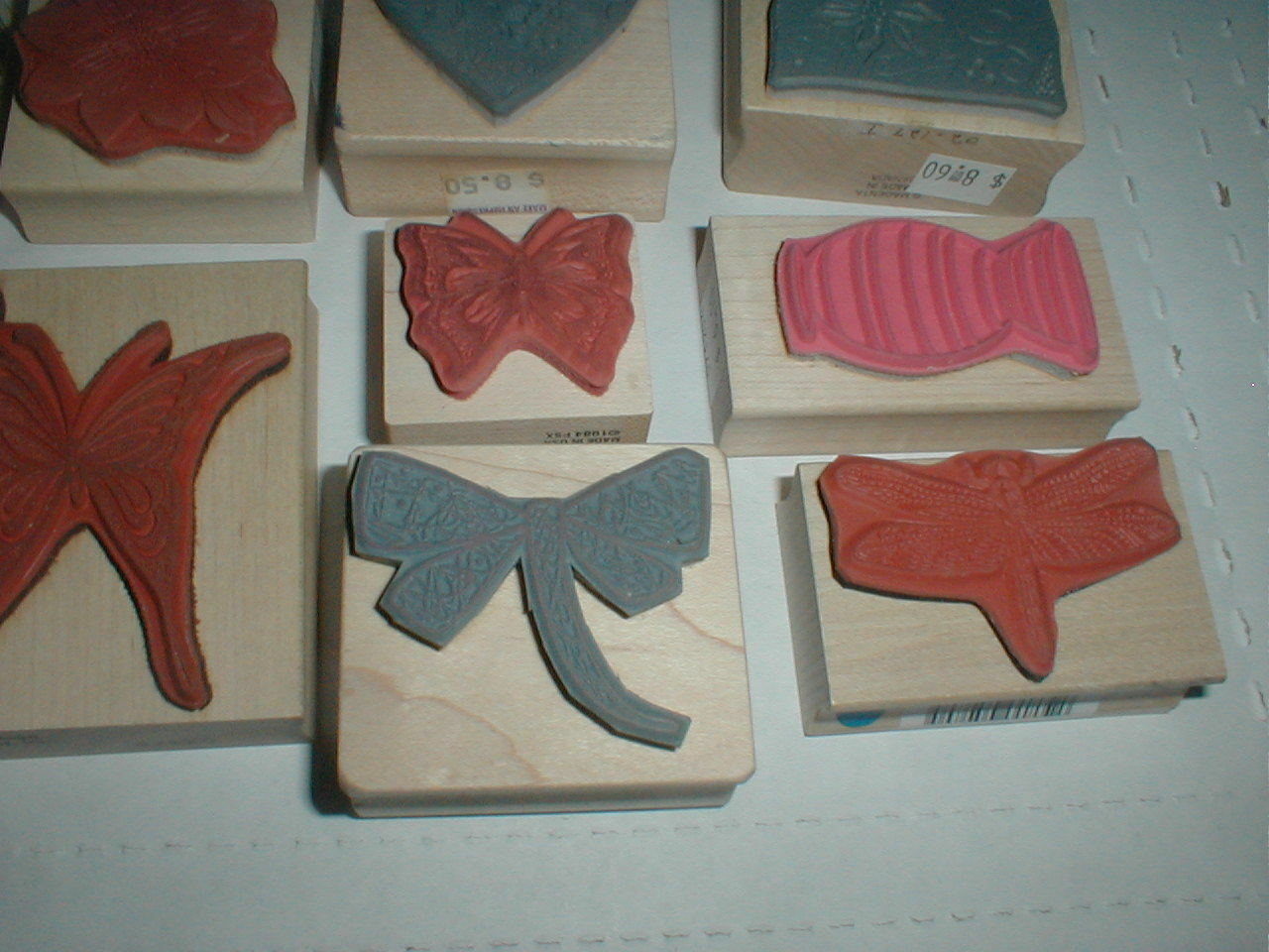 Large Rubber Ink Hand Stamp LOT Butterfly Heart Floral Flower SnowMan Wood Block - $19.98