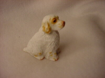 CLUMBER SPANIEL dog TiNY FIGURINE puppy HAND PAINTED MINIATURE Mini Pet Statue