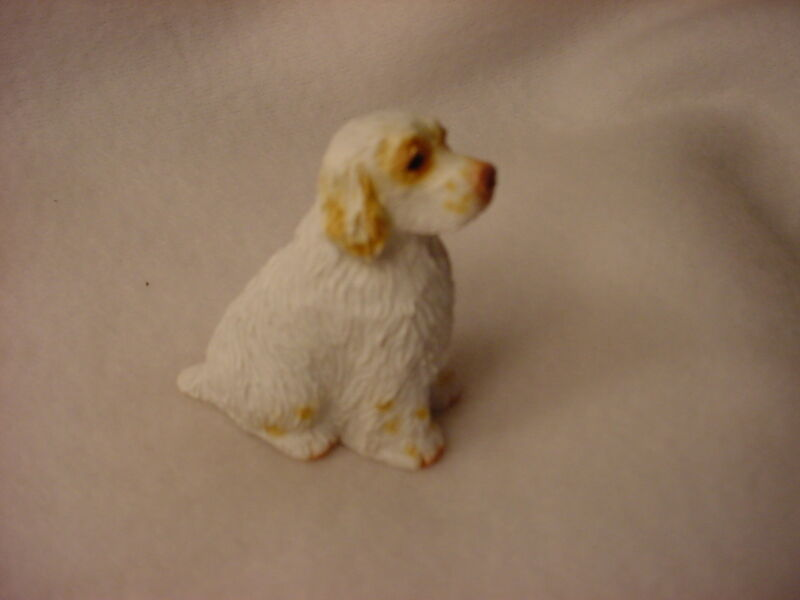CLUMBER SPANIEL dog FIGURINE puppy HAND PAINTED resin MINIATURE Small Mini NEW