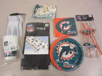 Miami Dolphins Game Day Party Supplies Kit - Balloons, Plates, Straws, Cups, - Party Supplies Miami
