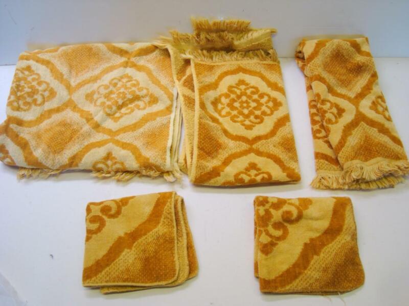 Vintage State Pride Mid Century Towel Set 5 Piece Lot
