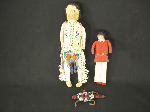 Plains and Navajo Dolls and an Umbilical Beaded Hide Fetish Artifacts, c.1910