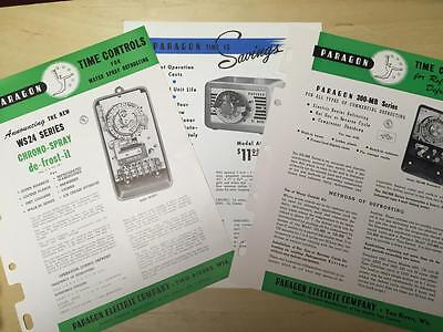 Vtg Paragon Electric Co Brochure Lot Time Controls D-frost-o-matic Defrost 1957