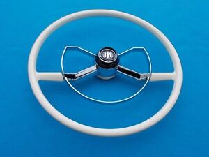 NEW 1950 1951 1952 Chevrolet Chevy Butterfly Steering Wheel Deluxe Style WHITE