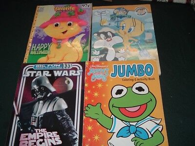 4 Vtg Lot Coloring Books Star Wars Muppet Babies Looney Tunes Halloween #Book