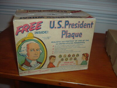 1950's Nabisco Shredded Wheat President Plaque Original Box with Ad Give-A-Way