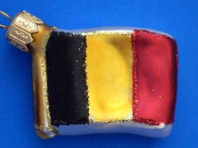 BELGIUM FLAG EUROPEAN BLOWN GLASS CHRISTMAS TREE ORNAMENT