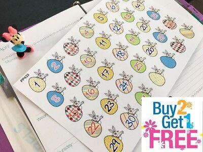 Pp433    Happy Easter Bunny Countdown Planner Stickers For Erin Condren  35Pcs