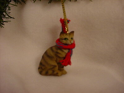 BROWN TABBY CAT Ornament HAND PAINTED Resin Figurine CHRISTMAS kitty kitten