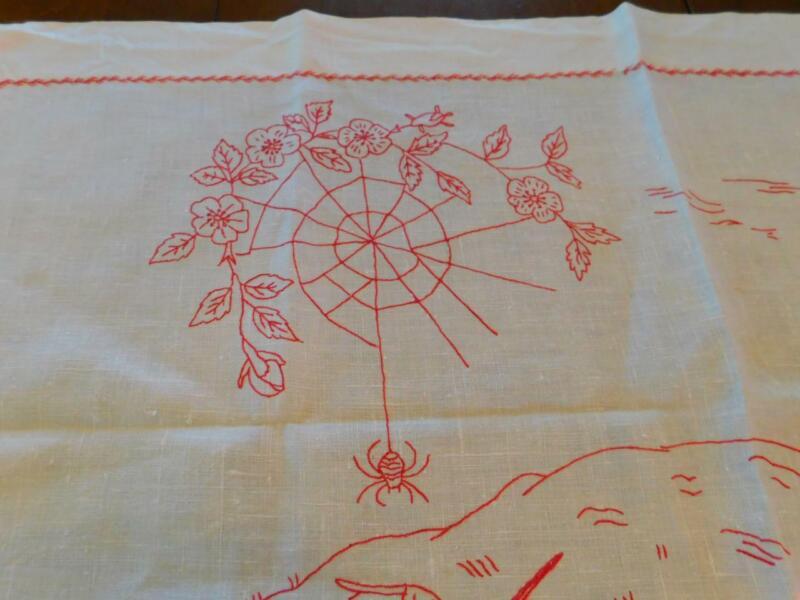 Vintage Hand Stitched REDWORK EMBROIDERED White Linen TABLE RUNNER Spider Birds