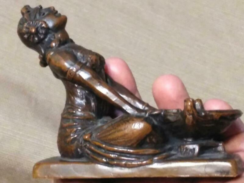 Antique Orientalist Art Deco Nouveau Woman Female Incense Burner Statue Harem