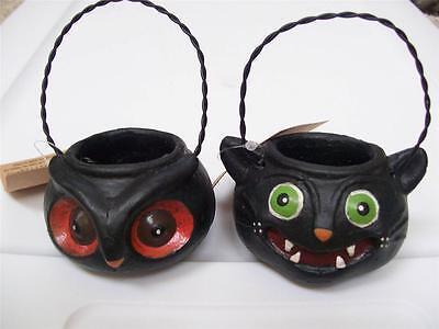 SET 2 NWT Folk Art Spooky OWL & BLACK CAT Treat Bucket HALLOWEEN Head Decor