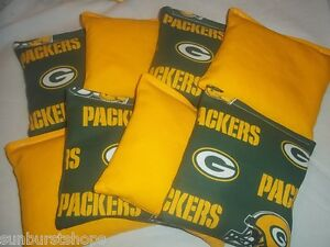 Regulation-Corn-Hole-Bags-Set-of-8-GREEN-BAY-PACKERS-YELLOW-Bean-Bag-Baggo
