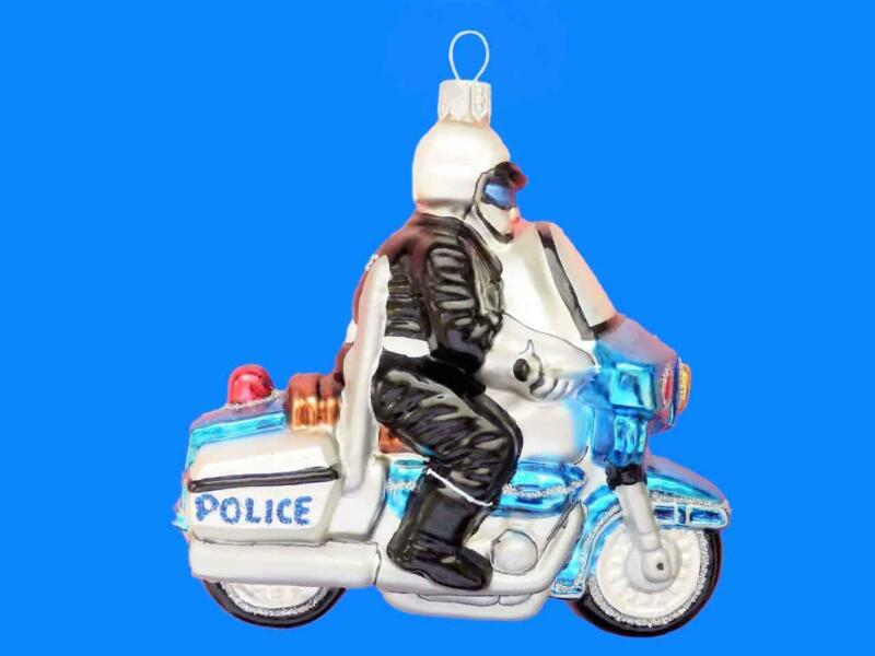 POLICE MOTORCYCLE HIGHWAY PATROL EUROPEAN BLOWN GLASS CHRISTMAS TREE ORNAMENT