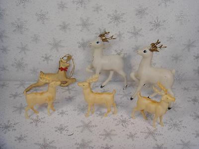 VINTAGE LOT OF 6 PLASTIC VINYL & FABRIC CHRISTMAS REINDEER ORNAMENTS DECORATIONS