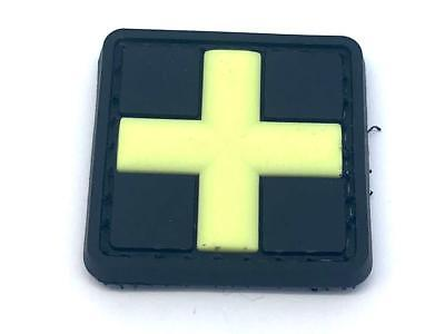 Small Medic Cross Glow in the Dark PVC Airsoft Paintball Morale Patch ()