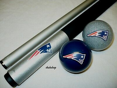 NFL New England PATRIOTS Billiard Pool Cue Stick & Team Logo Cue Ball Combo NEW (Logo Billiard Pool)
