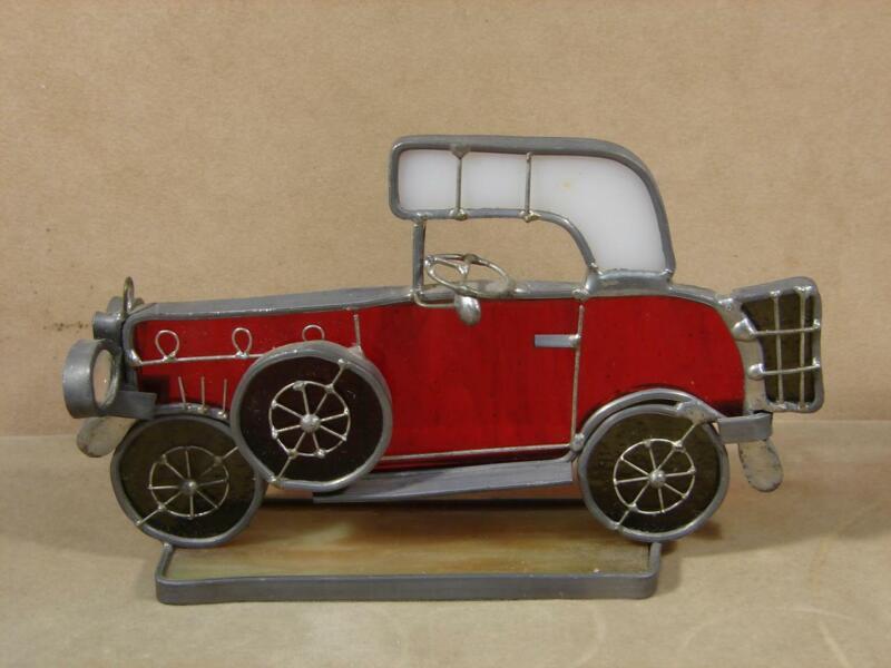 Vintage Slag Glass Lead Car Folk Art