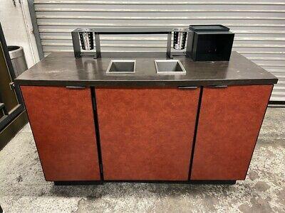 55 Coffee Creamer Cabinet Condiment Prep Station Cart Trash Waste Area 5147