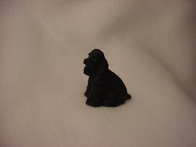 (COCKER SPANIEL black puppy TiNY DOG Figurine HAND PAINTED MINIATURE Mini Statue)