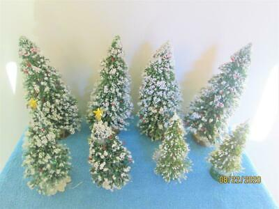 8 VINTAGE GREEN CHRISTMAS TREES WITH SNOW FOR TOWN VILLAGES LEMAX TAIWAN