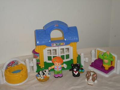 Fisher Price Little People Discovery Village Pet Shop Dog Cat Bunny Grooming Lot - Little People Discovery Village
