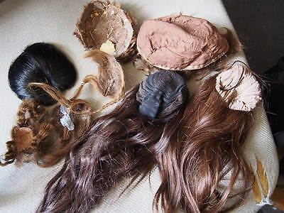 8 Puppen perücken alt und neu, fast alle Echthaar