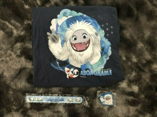 NEW: ABOMINABLE Movie BUNDLE: T-Shirt, Keychain, Slap Bracelet & DVD / Blu Ray