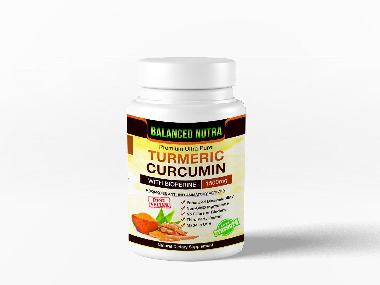 Best Selling Turmeric Curcumin with Bioperine Black Pepper 1500mg Extra Strength 1