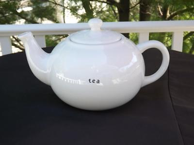 "Pottery Barn Coffee House Large White 10 Cup Teapot ""tea"""