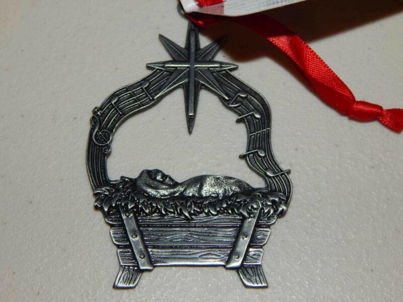 2013 FOLLOW THE STAR Manger Christmas Ornaments of Faith Pewter Ornament NOS