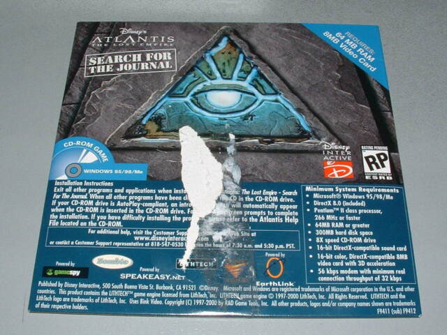 PC Game: Disney's Atlantis: The Lost Empire -- Search for the Journal