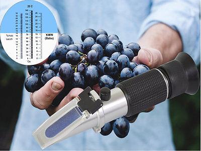 Refraktometer Alkohol Wein Brix Bier Zucker Gehalt Winzer 0 - 32 Oechsle Früchte