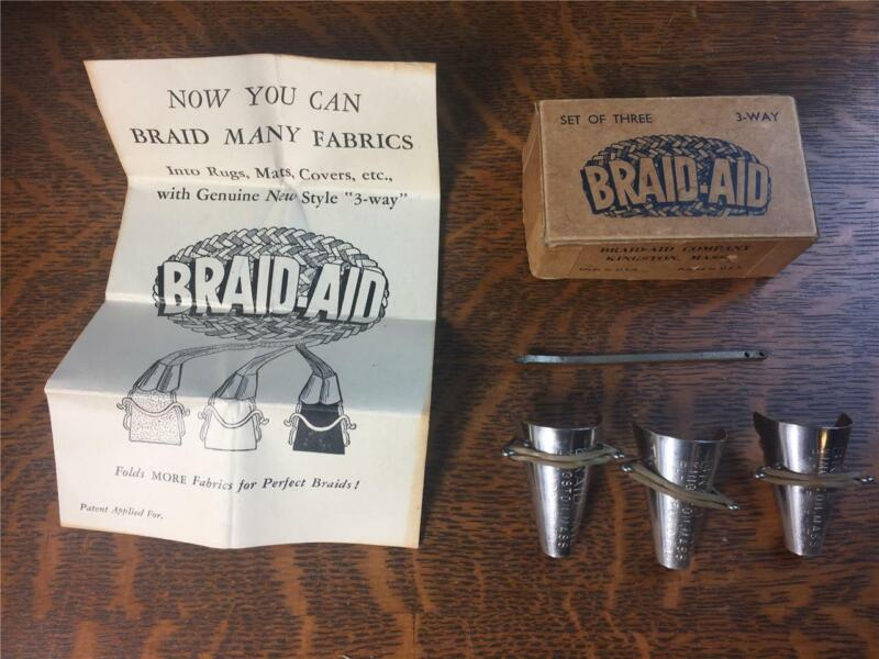 Vtg 3-Way Set of 3 Braid-Aid Cones w/ Box Instructions Needle Rug Braiding Tools