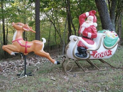 Empire Santa in Sleigh w/ Reindeer * LARGE * vtg blow mold Christmas yard decor