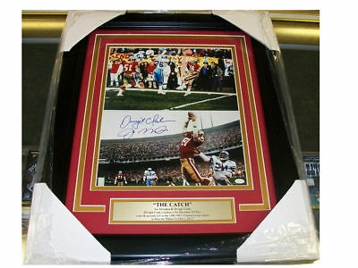 Joe Montana Dwight Clark The Catch Autographed Reprint Framed 8x10 Photo 49'ers