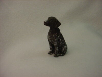 GERMAN SHORTHAIR POINTER puppy TiNY DOG Figurine HAND PAINTED MINIATURE Statue
