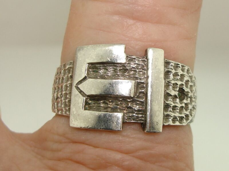 HALLMARKED ART DECO 1925 STERLING SILVER HAMMERED BUCKLE RING! SIZE 10.5