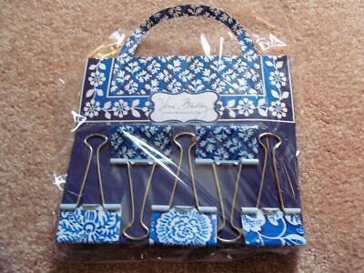 - VERA BRADLEY Jumbo  BINDER CLIPS x 5 pretty office/school supply NWT BLUE LAGOON