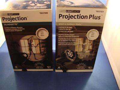 Two Gemmy Halloween Lights Projection Silhouette & Whirl-A-Motion + Static NEW