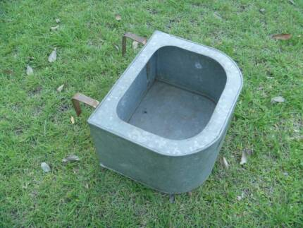 Feed Trough - Metal Galvanised Fence Feeder for Horses or Cattle